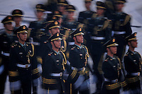 Aug. 8, 2008; Beijing, CHINA; Chinese soldiers march during the opening ceremonies for the 2008 Beijing Olympic Games at the National Stadium. Mandatory Credit: Mark J. Rebilas-