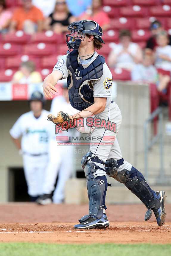 Burlington Bees catcher Wil Meyers (40) during a game vs. the Cedar Rapids Kernels at Veterans Memorial Stadium in Cedar Rapids, Iowa. June 19, 2010. Photo By Chris Proctor/Four Seam Images