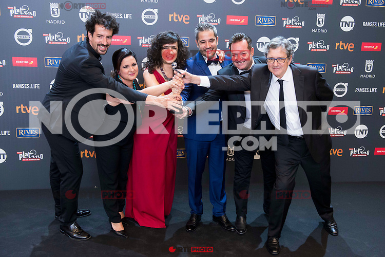 Crew of the series 'Cuatro Estaciones en la Habana'  receive the 'Best Tv Series' prize for the movie 'Cuatro Estaciones en la Habana' in Platino Awards 2017' at La Caja Magica in Madrid, July 22, 2017. Spain.<br /> (ALTERPHOTOS/BorjaB.Hojas) /NortePhoto.com