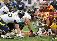 California and USC players are set during the game at LA Memorial Coliseum in Los Angeles, California.  USC defeated California, 48-14.