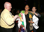 Stephanie Pope with David Westphal & Jason Wooten (recipient from Jekyll & Hyde)  attending the Broadway Opening Night Gypsy Robe Ceremony honoring Stephanie Pope for 'Pippin' at the Music Box Theatre in New York City on 4/25/2013