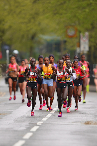 26.04.2015. London, England. London Marathon. The elite womans field in the early stages of the Virgin London Marathon race.