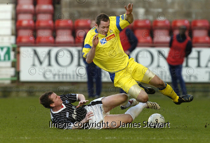 17/02/2007       Copyright Pic: James Stewart.File Name : sct_jspa13_dunfermline_v_kilmarnock.KILMARNOCK'S FRAZER WRIGHT IS TAKEN DOWN BY STEPHEN SIMONS....James Stewart Photo Agency 19 Carronlea Drive, Falkirk. FK2 8DN      Vat Reg No. 607 6932 25.Office     : +44 (0)1324 570906     .Mobile   : +44 (0)7721 416997.Fax         : +44 (0)1324 570906.E-mail  :  jim@jspa.co.uk.If you require further information then contact Jim Stewart on any of the numbers above.........