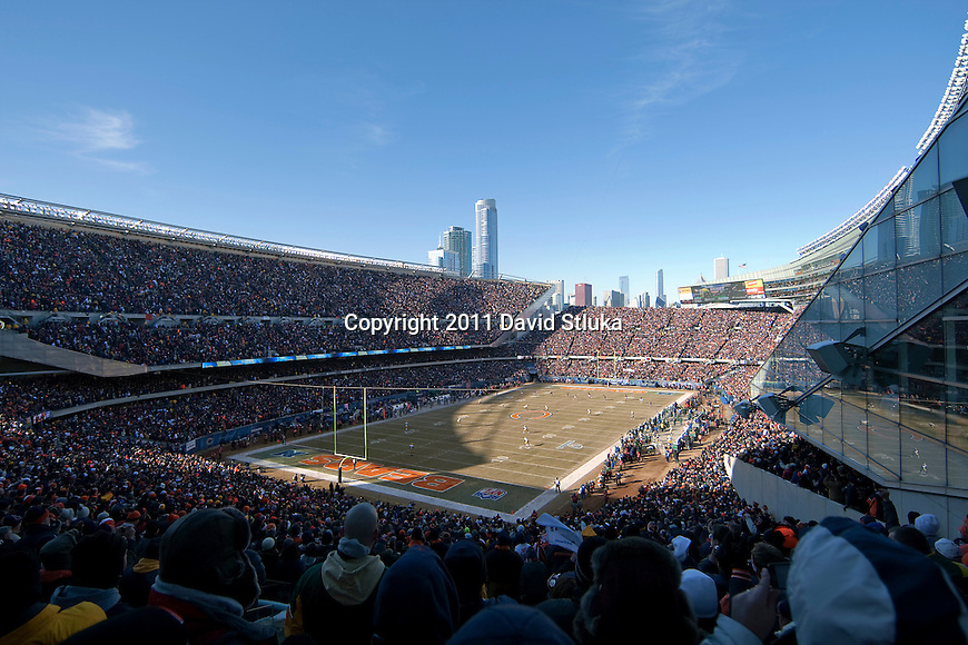 A general view of Soldier Field during the kickoff of the Chicago Bears NFC Championship NFL football game against the Green Bay Packers in Chicago on January 23, 2011. The Packers won 21-14. (AP Photo/David Stluka)