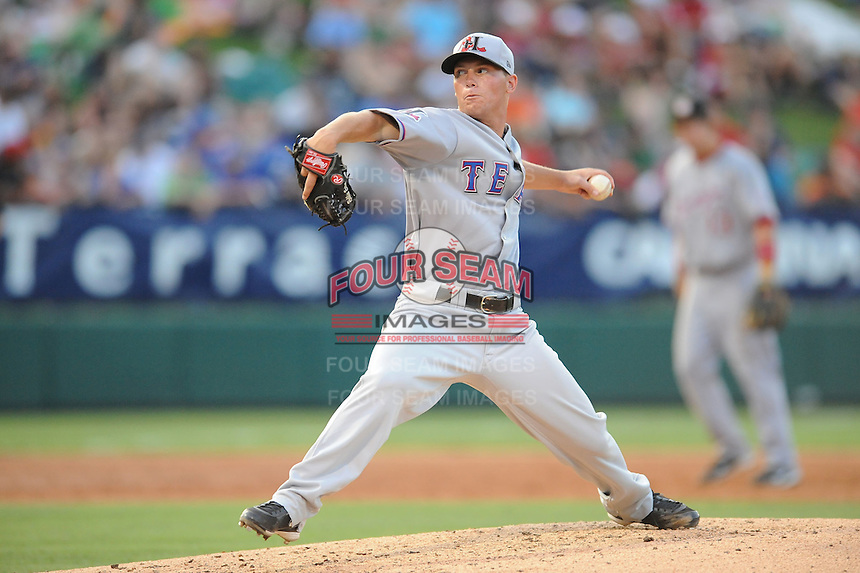 Hickory Crawdads Robert Erlin South Atlantic League All Star Game at Fluor Field in Greenville, South Carolina June 22, 2010.   The game ended in a 5-5 tie.  Photo By Tony Farlow/Four Seam Images