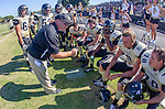 Palos Verdes, CA 09/13/13 - Luke Megginson (Peninsula #78), Earl Judge (Peninsula #8), Julius Lagmay (Peninsula #37), Steven Smith (Peninsula #3), Graham Lamonte (Peninsula #6), Matthew Ho (Peninsula #52), Mike Joncich (Peninsula #4),,Sam Sayegh (Peninsula #55), Connor Graves (Peninsula #80) and Danny Graham (Peninsula Coach) in action during the Culver City vs Palos Verdes Peninsula High School Varsity Football game at Palos Verdes Peninsula HIgh School.