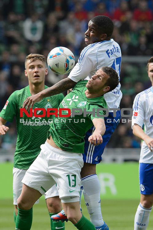 05.05.2012, Weser Stadion, Bremen, GER, 1.FBL, Werder Bremen vs Schalke 04, im Bild<br /> Lukas Schmitz (Bremen #13) Jefferson Farfan (Schalke #17)<br /> // during the Match GER, 1.FBL, Werder Bremen vs Schalke 04,  Weser Stadion, Bremen, Germany, on 2012/05/05<br /> Foto &copy; nph / Kokenge *** Local Caption ***