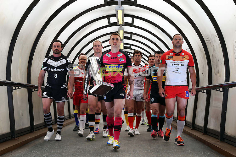 PICTURE BY VAUGHN RIDLEY/SWPIX.COM - Rugby League - Super League - Magic Weekend Preview - Deansgate Tram Stop, Manchester, England - 21/05/13 - Captains for the 14 Super League clubs head towards the Deansgate Tram platform in Manchester on their way to the Etihad Stadium for the Magic Weekend.