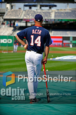 12 July 2008: Washington Nationals Manager Manny Acta watches his team warm up prior to a game against the Houston Astros at Nationals Park in Washington, DC. The Astros defeated the Nationals 6-4 in the second game of their 3-game series...Mandatory Photo Credit: Ed Wolfstein Photo