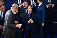 Le Président français Emmanuel Macron lors de la photo de famille au Sommet européen à Bruxelles.<br /> Belgique, Bruxelles, 22 mars 2019 <br /> President of France Emmanuel Macron during the family photo during the European Union summit.<br /> Belgium, Brussels, 22 March 2019.