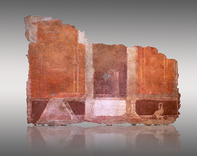 Roman fresco wall decorations of  Room E9, Rome. Museo Nazionale Romano, 130-140AD( National Roman Museum), Rome, Italy. Against a grey background.