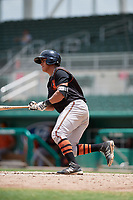 GCL Orioles first baseman Juan Montes (9) grounds out during a game against the GCL Red Sox on August 9, 2018 at JetBlue Park in Fort Myers, Florida.  GCL Red Sox defeated GCL Orioles 10-4.  (Mike Janes/Four Seam Images)