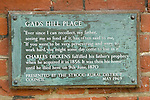 Gads Hill Place House Higham Kent. The home where Charles Dickens spent his last days. A plaque on the wall of the building now an independant  school.