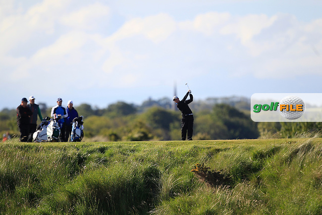 John Ross Galbraith (Whitehead) on the 15th tee during Round 2 of the East of Ireland Amateur Open Championship at Co. Louth Golf Club, Baltray on Sunday 30th May 2015.<br /> Picture:  Thos Caffrey / www.golffile.ie