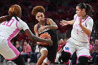 Arkansas' Alexis Tolefree drives to the basket between  Kentucky's Rhyne Howard (10) and Sabrina Haines Sunday Feb 9, 2020 at Bud Walton Arena in Fayetteville. Arkansas won 103-85. More images are found at nwaonline.com/uabball/ (NWA Democrat-Gazette/J.T. Wampler)