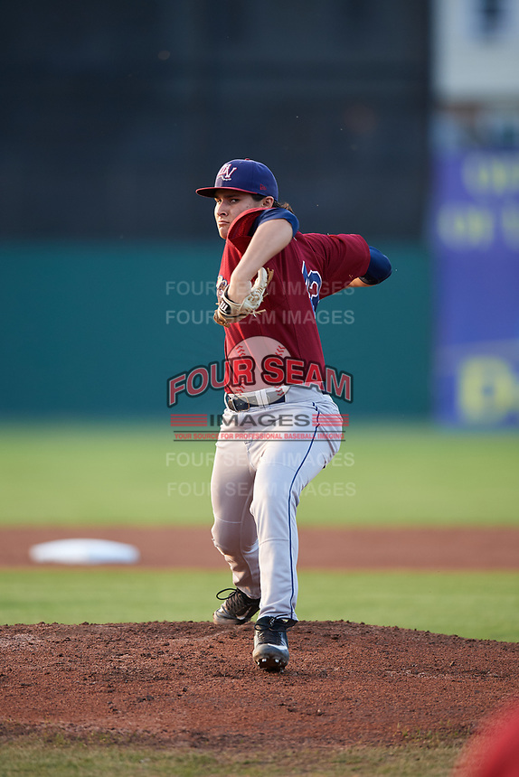 Mahoning Valley Scrappers starting pitcher Elijah Morgan (43) delivers a pitch during a game against the Batavia Muckdogs on August 30, 2017 at Dwyer Stadium in Batavia, New York.  Batavia defeated Mahoning Valley 5-1.  (Mike Janes/Four Seam Images)
