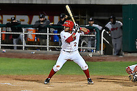 Jose Rojas (2) of the Orem Owlz at bat against the Billings Mustangs in Game 2 of the Pioneer League Championship at Home of the Owlz on September 16, 2016 in Orem, Utah. Orem defeated Billings 3-2 and are the 2016 Pioneer League Champions.(Stephen Smith/Four Seam Images)