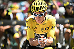 Race leader Geraint Thomas (WAL) Team Sky waits for the start of Stage 14 of the 2018 Tour de France running 188km from Saint-Paul-Trois-Chateaux to Mende, France. 21st July 2018. <br /> Picture: ASO/Pauline Ballet | Cyclefile<br /> All photos usage must carry mandatory copyright credit (&copy; Cyclefile | ASO/Pauline Ballet)