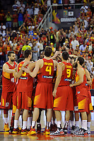 Spain's team during 2014 FIBA Basketball World Cup Group Phase-Group A, match Serbia vs Spain. Palacio  Deportes of Granada. September 4,2014. (ALTERPHOTOS/Raul Perez)