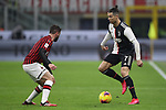 Cristiano Ronaldo of Juventus teases Davide Calabria of AC Milan during the Coppa Italia match at Giuseppe Meazza, Milan. Picture date: 13th February 2020. Picture credit should read: Jonathan Moscrop/Sportimage