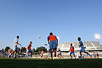 06 June 2015: Minnesota players warm up before the game. The Carolina RailHawks hosted Minnesota United FC at WakeMed Stadium in Cary, North Carolina in a North American Soccer League 2015 Spring Season match. The game ended in a 1-1 tie.