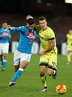 Ivan Persic  fight for the ball with Napoli's Elseid Hysaj during the Quartef-final of Tim Cup soccer match,between SSC Napoli and vFC Inter    at  the San  Paolo   stadium in Naples  Italy , January 19, 2016