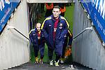 FC Barcelona's Thomas Vermaelen (r) and Andres Iniesta during La Liga match. April 9,2016. (ALTERPHOTOS/Acero)
