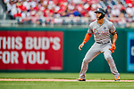 3 April 2017: Miami Marlins outfielder Giancarlo Stanton takes a lead off second in the 4th inning against the Washington Nationals on Opening Day at Nationals Park in Washington, DC. The Nationals defeated the Marlins 4-2 to open the 2017 MLB Season. Mandatory Credit: Ed Wolfstein Photo *** RAW (NEF) Image File Available ***