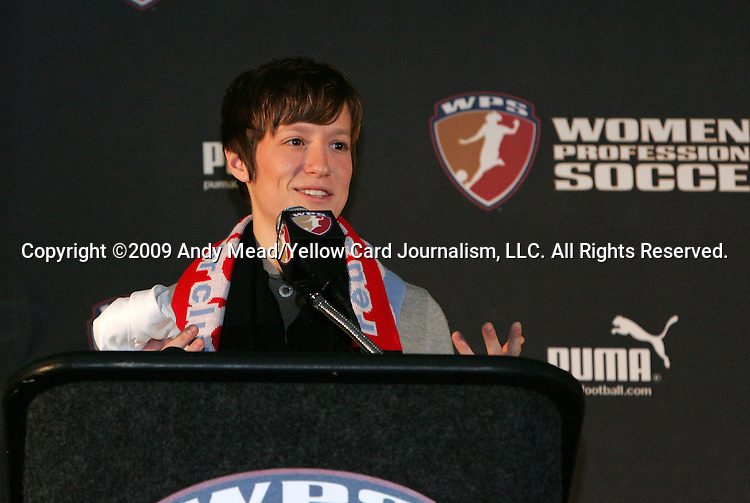 16 January 2009: Megan Rapinoe was taken by the Chicago Red Stars with the second overall pick. The 2009 inaugural Womens Pro Soccer (WPS) Draft was held at the Convention Center in St. Louis, Missouri in conjuction with the National Soccer Coaches Association of America's annual convention.