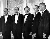 "Los Angeles, CA - (FILE) -- The Apollo 11 Astronauts pose for a photo with United States President Richard M. Nixon and Vice President Spiro T. Agnew prior to the lavish state dinner in the Astronauts' honor at the Century Plaza Hotel in Los Angeles, California on August 14, 1969.  From left to right: Edwin E. ""Buzz"" Aldrin, Jr., Michael Collins, President Nixon, Neil A. Armstrong, and Vice President Agnew..Credit: Deris Jeannette / CNP"