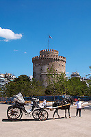 The White Tower. Horse drawn carriage. Thessaloniki, Macedonia, Greece
