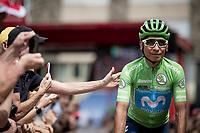 green jersey Nairo Quintana (COL/Movistar) at the race start in Andorra la Vella<br /> <br /> Stage 9: Andorra la Vella to Cortals d'Encamp (94km) - ANDORRA<br /> La Vuelta 2019<br /> <br /> ©kramon