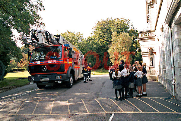 Firefighters on a school visit. They have brought a Hydraulic Platform Fire Engine. This image may only be used to portray the subject in a positive manner..©shoutpictures.com..john@shoutpictures.com