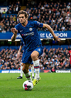 Marcos Alonso of Chelsea during the Premier League match between Chelsea and Liverpool at Stamford Bridge, London, England on 22 September 2019. Photo by Liam McAvoy / PRiME Media Images.