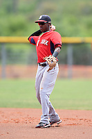 Boston Red Sox minor league second baseman Raymel Flores (5) during an extended spring training game against the Tampa Bay Rays on April 16, 2014 at Charlotte Sports Park in Port Charlotte, Florida.  (Mike Janes/Four Seam Images)