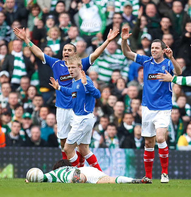 Georgios Samaras goes down and a free-kick awarded against Rangers