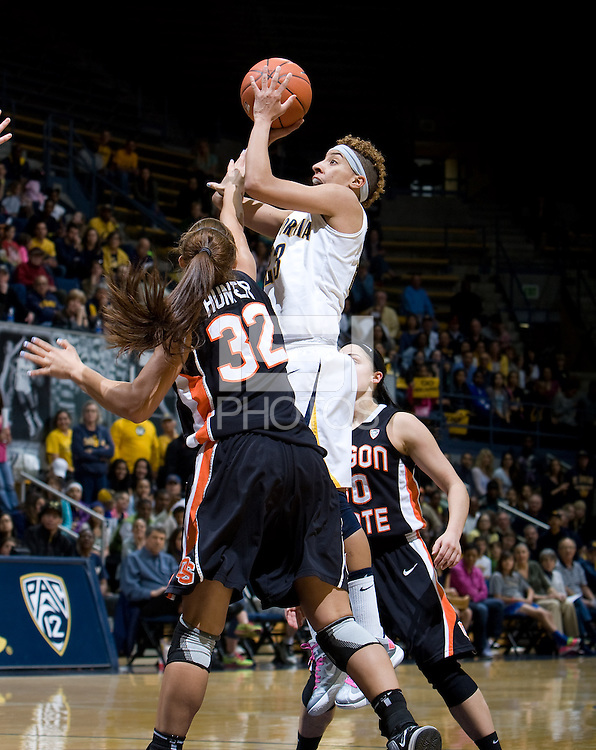 Layshia Clarendon of California shoots the ball during the game against Oregon State Beavers at Haas Pavilion in Berkeley, California on February 24th, 2013.  California defeated Oregon State Beavers, 58-56.