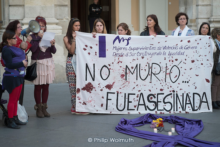 She Didn't Die, She was Murdered.  Women Survivors of Gender Violence in the South demonstrate outside the municipal government building in Malaga, Spain