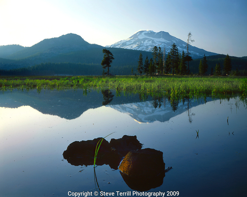 South Sister reflecting in Sparks Lake, Oregon
