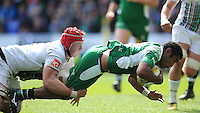 Aseli Tikoirotuma of London Irish forces his way past Sam Twomey of Harlequins to score a try just before half time during the Aviva Premiership match between London Irish and Harlequins at the Madejski Stadium on Sunday 1st May 2016 (Photo: Rob Munro/Stewart Communications)