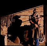A blacksmith at the old Alice Springs telegraph station, Alice Springs, Australia.