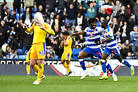 Tyler Blackett of Reading congratulates Modou Barrow of Reading right on scoring the second goal to Make the score 2-2  during Reading vs Wigan Athletic, Sky Bet EFL Championship Football at the Madejski Stadium on 9th March 2019