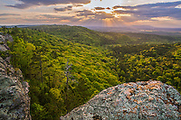Petit Jean State Park, Arkansas:<br /> Setting sun over the Arkansas River valley from Petit Jean mountain