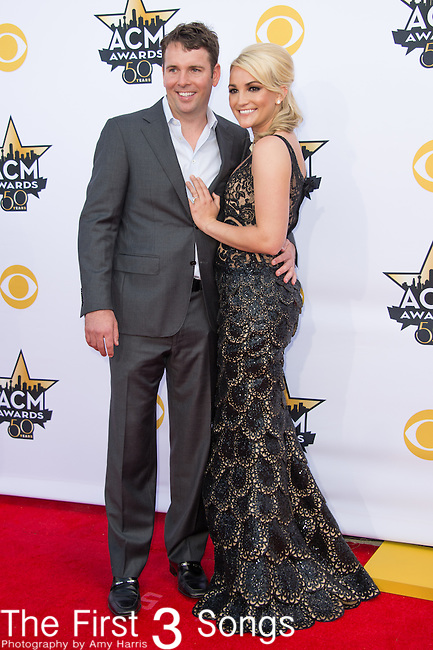 Jamie Watson and Jamie Lynn Spears attend the 50th Academy Of Country Music Awards at AT&T Stadium on April 19, 2015 in Arlington, Texas.