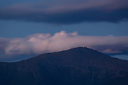 Mount Washington at night from Middle Sugarloaf Mountain in Bethlehem, New Hampshire USA during the summer months.