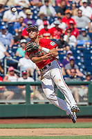 Texas Tech Red Raiders shortstop Orlando Garcia (2) makes a running throw to first base against the TCU Horned Frogs in Game 3 of the NCAA College World Series on June 19, 2016 at TD Ameritrade Park in Omaha, Nebraska. TCU defeated Texas Tech 5-3. (Andrew Woolley/Four Seam Images)