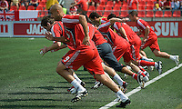 06 June 2009: Toronto FC players warm-up during MLS action at BMO Field Toronto in a game between LA Galaxy and Toronto FC. .The Galaxy  won 2-1.