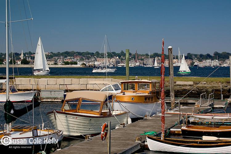 Wooden boats berthed at Fort Adams, Newport, Narragansett Bay, RI, USA