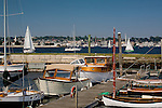 Wooden boats berthed at Fort Adams, Newport, Narragansett Bay, RI, USA