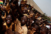 Ghanaians school children parade in front of their school  while awaiting for the 50th anniversary of their countries' independence in Accra, Ghana on Monday March 05 2007..